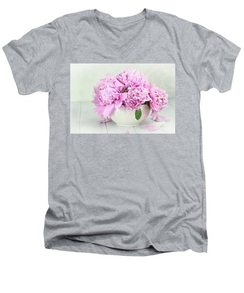 Pink Peonies Men's V-Neck T-Shirt by Stephanie Frey