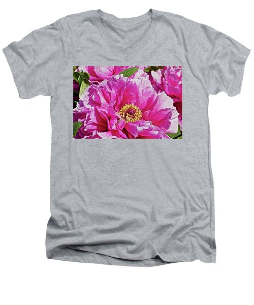 Pink Peony Men's V-Neck T-Shirt by Joan Reese