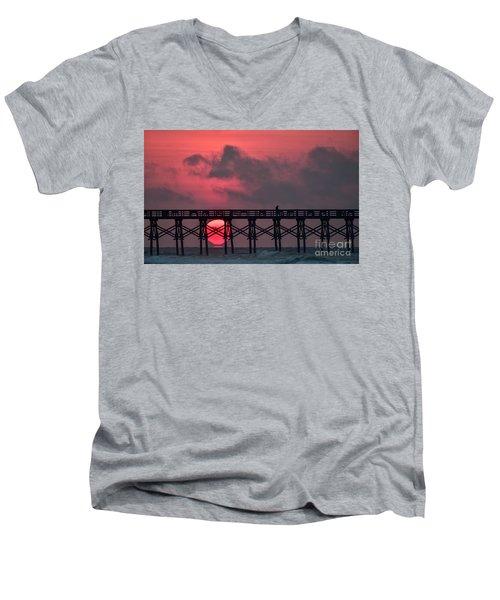 Pink Pier Sunrise Men's V-Neck T-Shirt