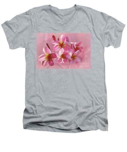 Men's V-Neck T-Shirt featuring the photograph Pink Plumeria Pastel By Kaye Menner by Kaye Menner