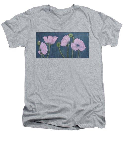 Pink Poppies Men's V-Neck T-Shirt by Kathleen McDermott