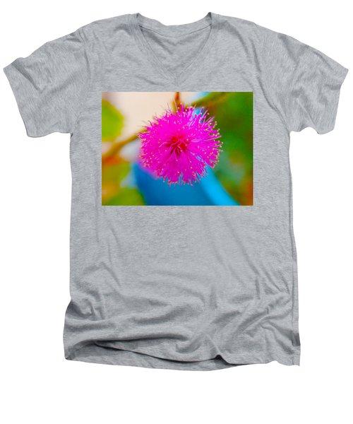 Pink Puff Flower Men's V-Neck T-Shirt