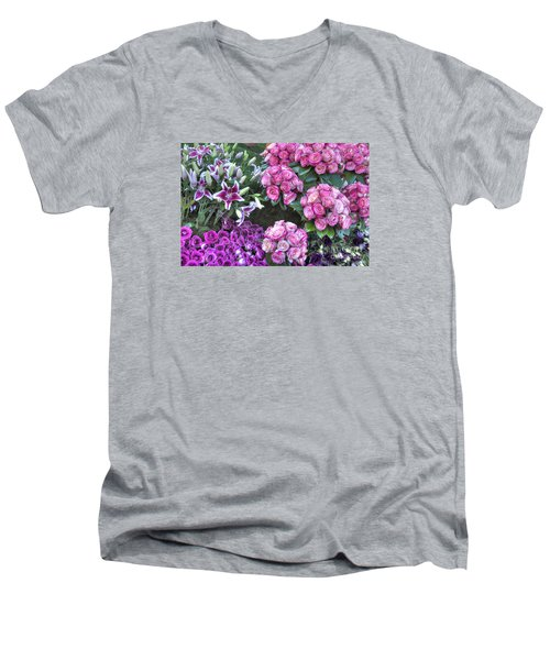 Pink, Purple And Lillies Men's V-Neck T-Shirt