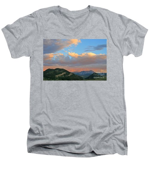 Men's V-Neck T-Shirt featuring the photograph Pink Rain Over The Sleeping Indian by Paula Guttilla