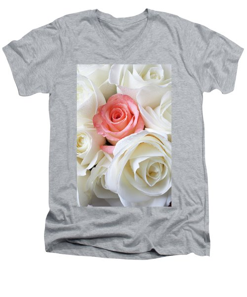 Pink Rose Among White Roses Men's V-Neck T-Shirt