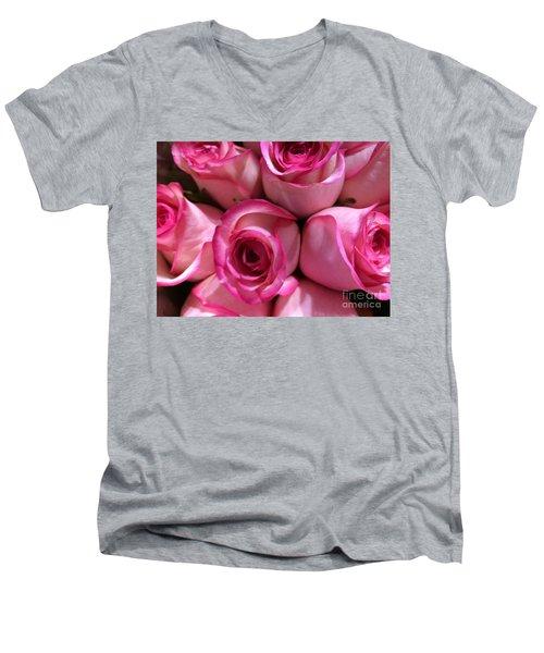 Pink Rose Bouquet Men's V-Neck T-Shirt