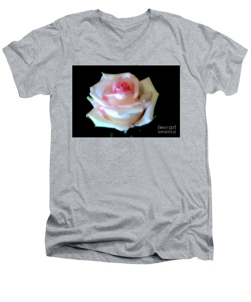 Pink Rose Bud Men's V-Neck T-Shirt