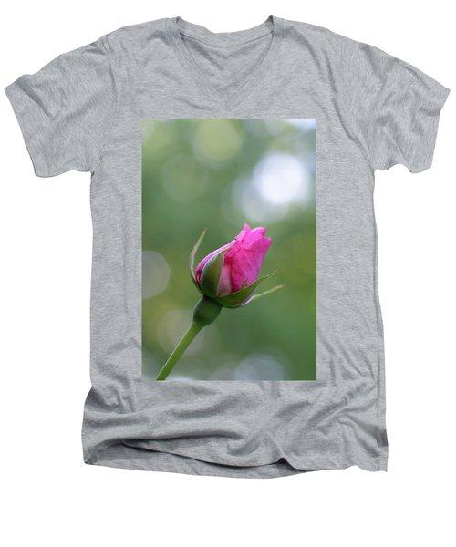 Pink Rose Bud Men's V-Neck T-Shirt