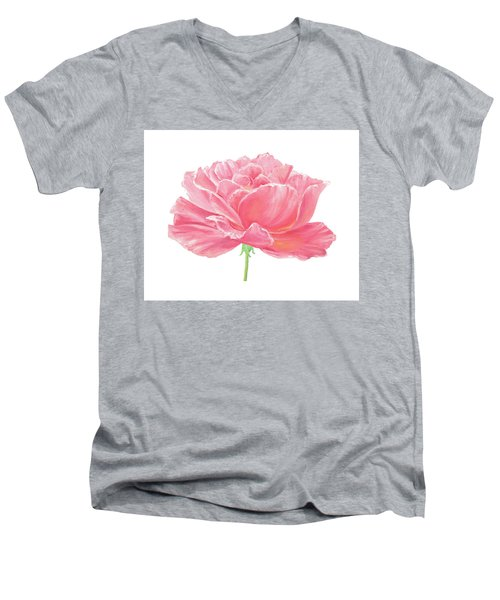 Men's V-Neck T-Shirt featuring the painting Pink Rose by Elizabeth Lock