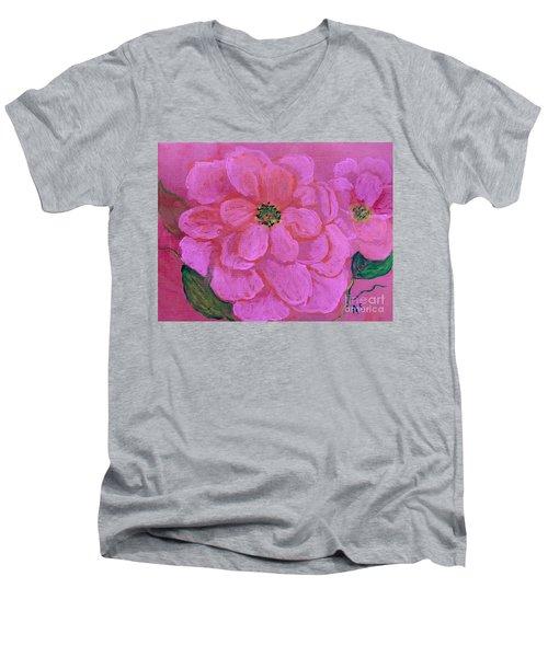 Pink Rose Flowers Men's V-Neck T-Shirt