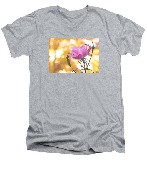 Men's V-Neck T-Shirt featuring the photograph Pink Rose In The Light Of Fall by Trina  Ansel