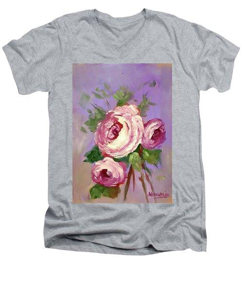 Pink Rose Men's V-Neck T-Shirt by Janet Garcia