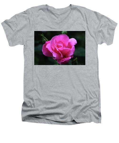 Pink Rose With Raindrops Men's V-Neck T-Shirt