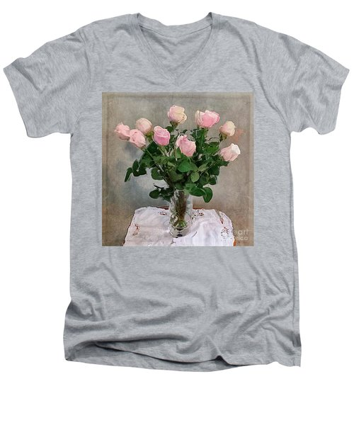 Men's V-Neck T-Shirt featuring the digital art Pink Roses by Alexis Rotella
