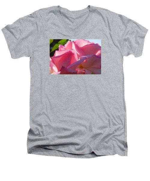 Men's V-Neck T-Shirt featuring the photograph Pink Roses by Karen Molenaar Terrell