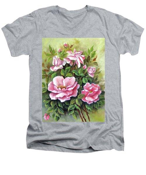 Pink Roses Men's V-Neck T-Shirt by Katia Aho