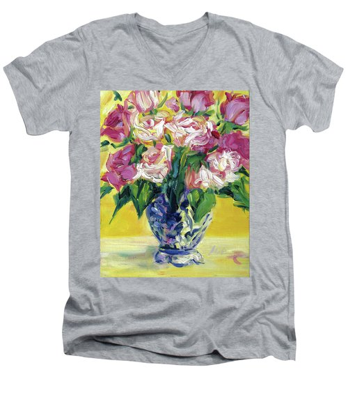 Pink Roses In Blue Deft Vase Men's V-Neck T-Shirt