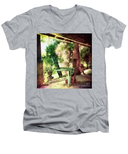 Men's V-Neck T-Shirt featuring the digital art Pink Roses On The Porch by Lois Bryan