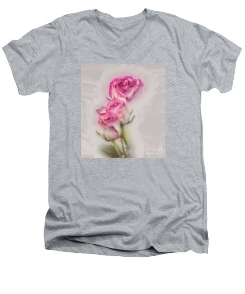 Men's V-Neck T-Shirt featuring the photograph Pink Roses by Shirley Mangini
