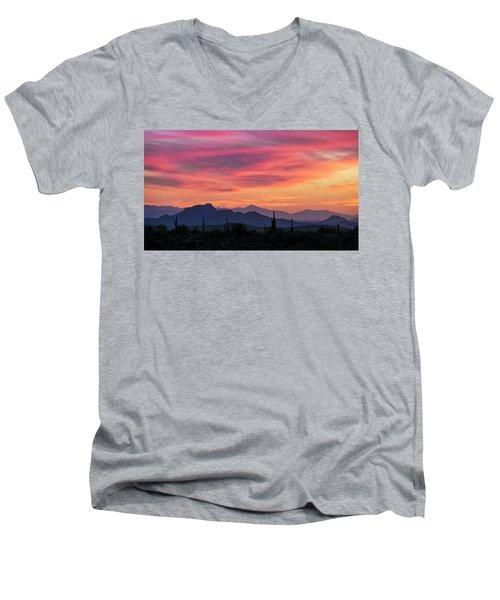 Men's V-Neck T-Shirt featuring the photograph Pink Silhouette Sunset  by Saija Lehtonen
