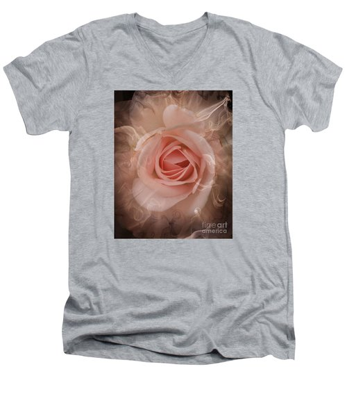 Pink Smokey Men's V-Neck T-Shirt by Clare Bevan