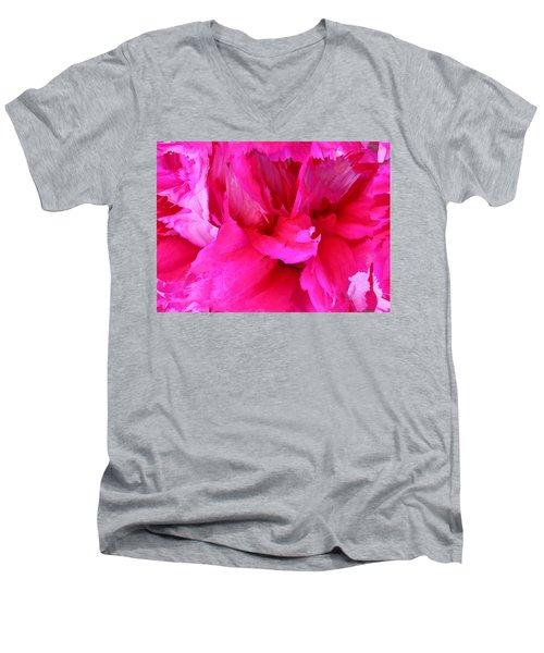 Pink Splash Men's V-Neck T-Shirt by Kristin Elmquist