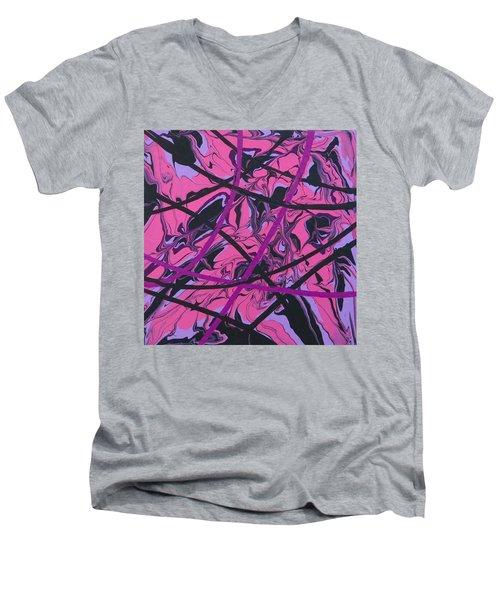 Pink Swirl Men's V-Neck T-Shirt by Teresa Wing