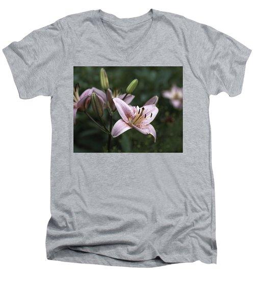 Pink Tiger Lily Men's V-Neck T-Shirt