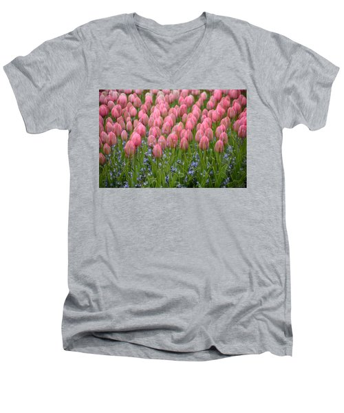 Men's V-Neck T-Shirt featuring the photograph Pink Tulips by Phyllis Peterson