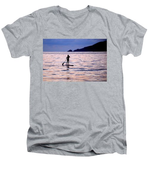 Men's V-Neck T-Shirt featuring the photograph Pink Water Girl by Jim Walls PhotoArtist
