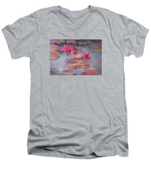 Pink Waterlilies Men's V-Neck T-Shirt by Vali Irina Ciobanu