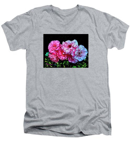Men's V-Neck T-Shirt featuring the photograph Pink - White Roses  by Sadie Reneau