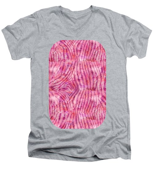 Pink Zebra Print Men's V-Neck T-Shirt