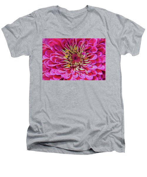 Pink Zinnia Glow Men's V-Neck T-Shirt