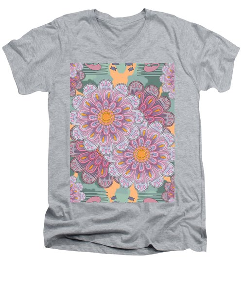 Pink Zinnia Mandala Men's V-Neck T-Shirt