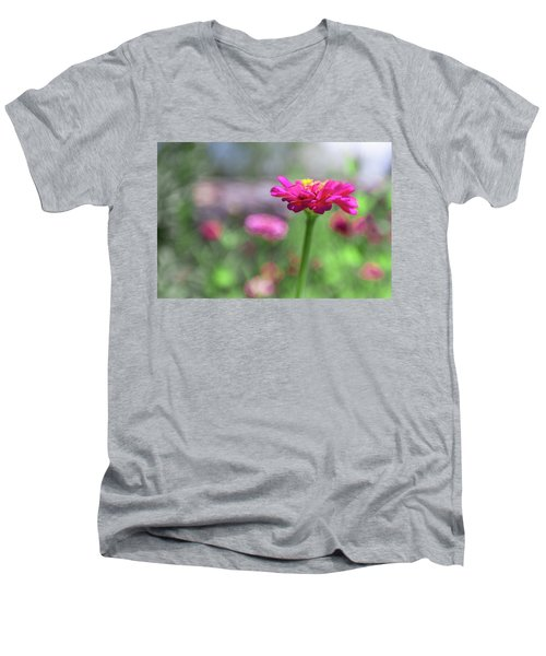 Pink Zinnia Men's V-Neck T-Shirt