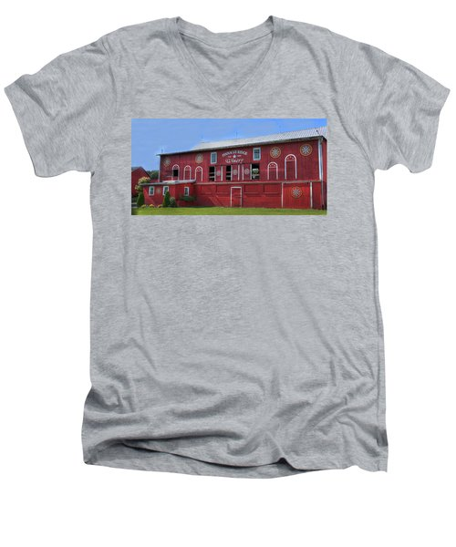 Men's V-Neck T-Shirt featuring the digital art Pinnacle Ridge Winery by Sharon Batdorf