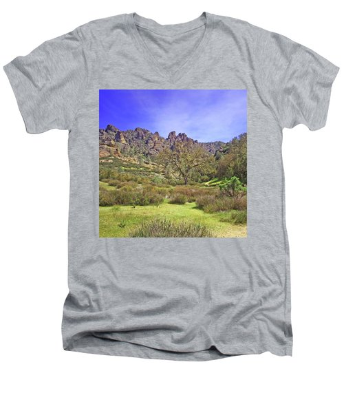 Men's V-Neck T-Shirt featuring the photograph Pinnacles National Park Watercolor by Art Block Collections