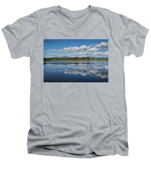 Pinon Lake Reflections Men's V-Neck T-Shirt by Jason Coward