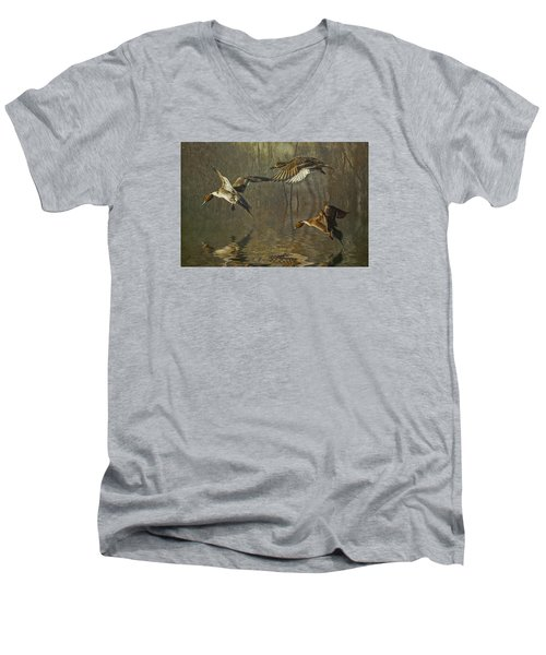 Pintail Ducks Men's V-Neck T-Shirt by Brian Tarr