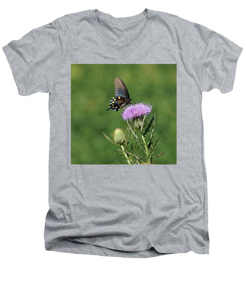 Men's V-Neck T-Shirt featuring the photograph Pipevine Swallowtail by Sandy Keeton