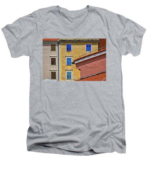 Men's V-Neck T-Shirt featuring the photograph Piran Colors - Slovenia by Stuart Litoff