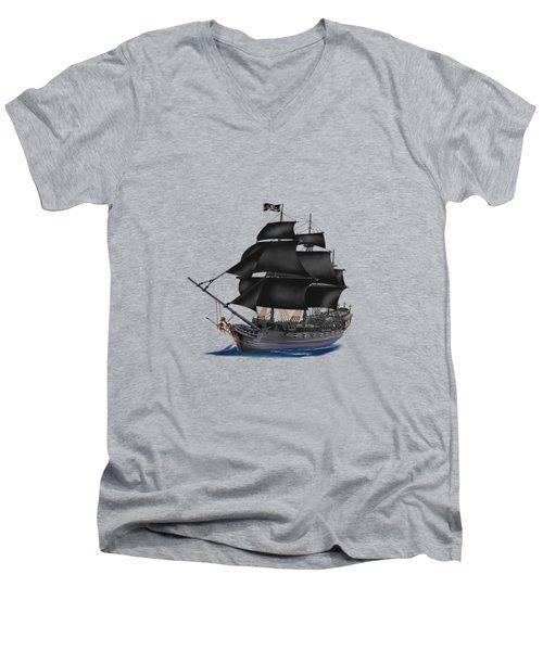 Pirate Ship At Sunset Men's V-Neck T-Shirt by Glenn Holbrook