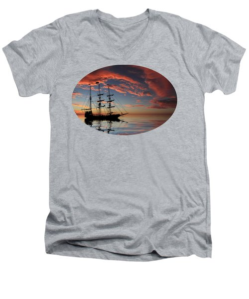 Pirate Ship At Sunset Men's V-Neck T-Shirt