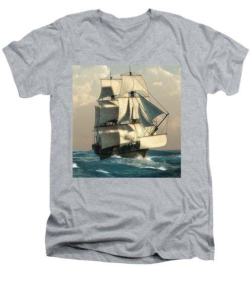 Pirates On The High Seas Men's V-Neck T-Shirt