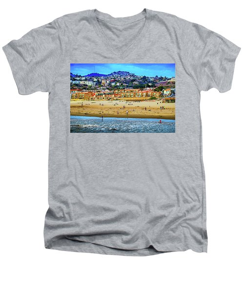 Men's V-Neck T-Shirt featuring the photograph Pismo Hilltop Ocean View by Joseph Hollingsworth
