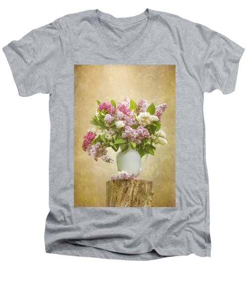 Pitcher Of Lilacs Men's V-Neck T-Shirt by Patti Deters