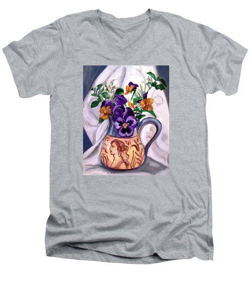 Men's V-Neck T-Shirt featuring the painting Pitcher Of Pansies by Laura Aceto
