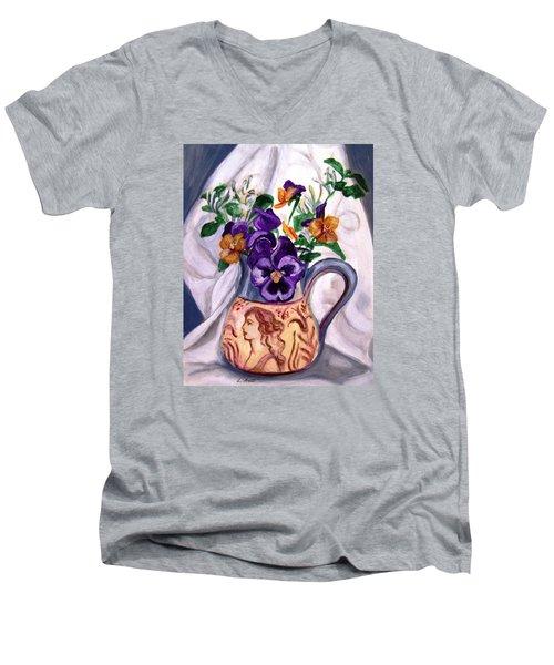 Pitcher Of Pansies Men's V-Neck T-Shirt