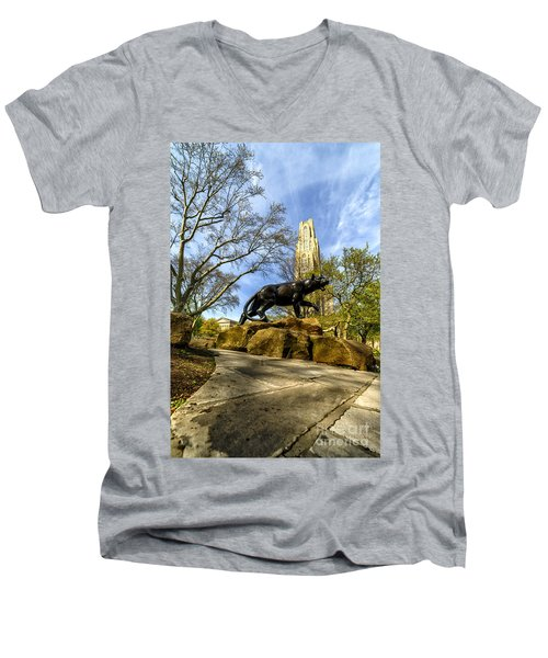Pitt Panther Cathedral Of Learning Men's V-Neck T-Shirt by Thomas R Fletcher